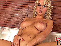 nice tites, Busty blonde babe Mandy Dee's bathroom striptease