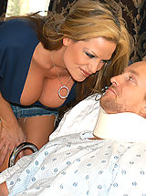 Bouncing Boobs, Kelly Madison hired Holly Morgan as Ryan's nurse when a not so broken cock popped out from under the sheets.