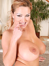 Busty Teen, Seductive hot milf Sharon Pink pops out her massive boobs while slowly taking off her sexy thongs