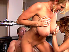 Sienna takes a huge load after her and Kelly get aggressive with cock and get it to hit every pleasure point on their bodies.