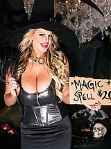 Big Tits w. Dildo, Kelly and Tasha get their little gothic witch and princess pussies pounded hard by the crazy clown.
