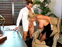 Busty Babes, Kelly uses her power in the office to suck one of her workers cocks