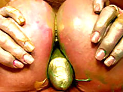 Big Tits Fetish, Kelly's paint gets all over her boobs so she slides her male model's cock between them.