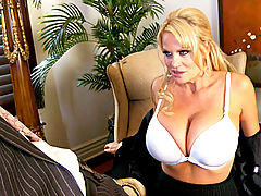 Busty Teen, Kelly sucks on Ryan's cock while she wears glasses