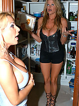 Kelly Madison and Holly Halston get into hot nasty threesome and end up covered in cum that they lick up.
