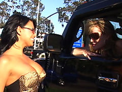 Bouncing Boobs, Content of Eva Angelina - On my way to the local biker bar to meet up with my husband I came across one hot mama on the side of the road. I told her she would look even hotter sitting on the back of my man's bike. I called him up and she jumped on...