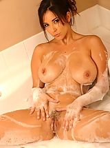 Busty Babes, Jelena Jensen soaps up her huge boobs