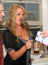 nice tities, Kelly Madison and her husband drop by next door and fuck Jayden James in the kitchen.