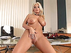 Busty Girls Movies, Busty blonde secretary babe Ines Cudna strips nude for you