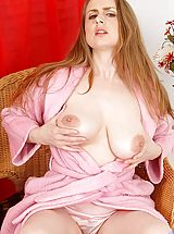 Busty Babes, Sensual housewife Midori spreads her bright pink milf pussy