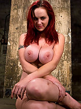 Busty Girls, HUGE breasted red head, gets bound and tormented, forced to cum