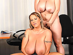 Busty lesbian office babes Joanna Bliss & Laura M toying