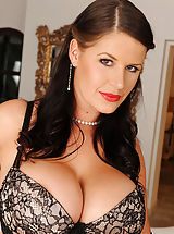 Busty Grannies, Hot busty babe Rebecca Jessop poses in stockings & heels