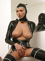 Hot Porn Star Hanna Hilton in a tight fitting latex outfit