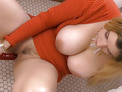 Busty XXX, Beautiful Slut Danielle Double Penetration Fun reveals her naked tits, draws down her underwear and opens her limbs and hand fucks her snug crotch