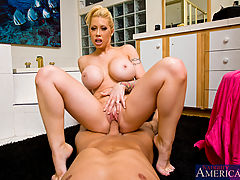 Naughty America, Horny housewife Candy Manson fucks and sucks her husbands hot cock.