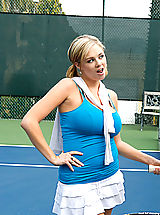 Naughty America Pics: Katie shows off her tennis moves, then takes the game off court for some hot fucking action.