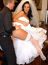 Busty Housewives, Jayden James is a sluty bride that needs to ride one more cock before getting married, so why not the priest's.