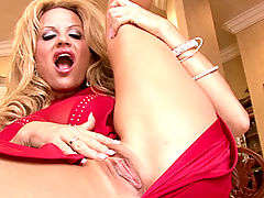 Huge Tits, Kelly celebrates her 34FF tits in a skintight red dress and masturbates with a blue vibrator.