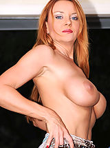 Young Busty, Gorgeous Anilos cougar slides off her white panty and shows off her pink cunt from the back